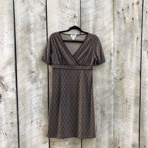 Ann Taylor LOFT | brown medallion midi dress